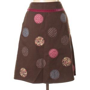Boden Brown Patch Dot A-Line Skirt 8 (UK 12)